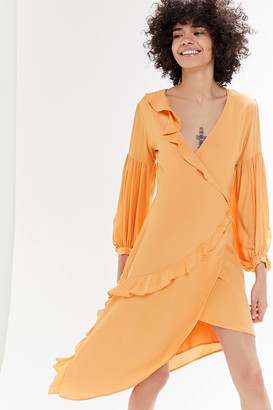 Capulet UO Exclusive Pansy Asymmetrical Wrap Midi Dress