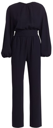 Carolina Ritzler Belted Billow Long-Sleeve Jumpsuit