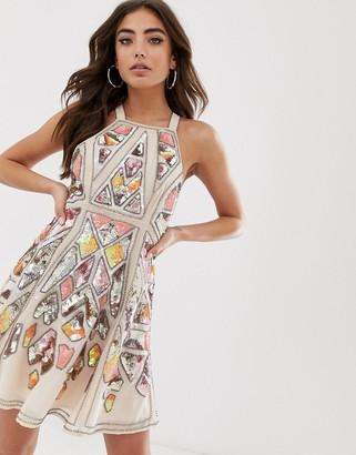 ASOS DESIGN aztec embellished mini skater dress