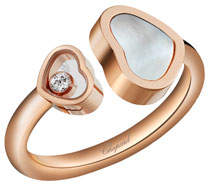 Chopard Happy Hearts Mother-of-Pearl & Diamond Ring in 18K Rose Gold, Size 52/53