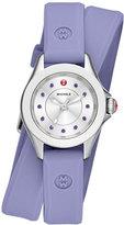 Michele Cape Mini Topaz Watch w/ Double-Wrap Silicone Strap, Lavender