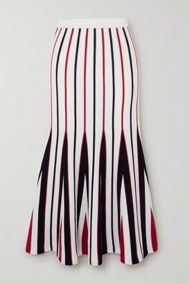Gabriela Hearst Aegina Striped Wool Midi Skirt - Ivory