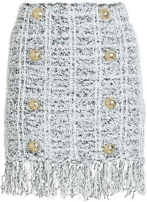Balmain Fringed Tweed Button Mini Skirt