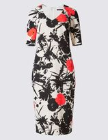 Marks and Spencer Poppy Print Half Sleeve Shift Dress