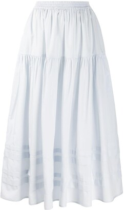 Cecilie Bahnsen Tiered Striped-Panel Skirt