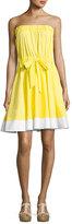 Milly Ariel Strapless Stretch-Poplin Dress, Yellow/White