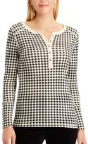 Chaps Women's Plaid Cotton Henley