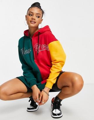 Public Desire contrast motif oversized hoodie sweat dress in multi