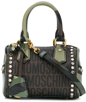 Moschino Logo-Print Camouflage-Print Shoulder Bag