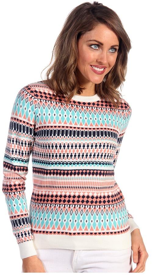 Lacoste L!VE L/S Mini Tribal Printed Crewneck Sweater (Paradise Green/Cochshell Pink/Ship Blue/Cake Flour White) - Apparel