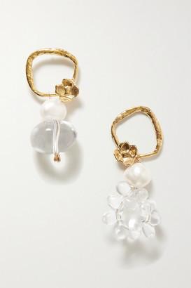 ANITA BERISHA Water Drops Gold-tone, Quartz And Pearl Earrings