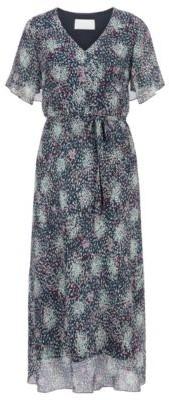 HUGO BOSS Kimono-sleeve midi dress in printed silk chiffon