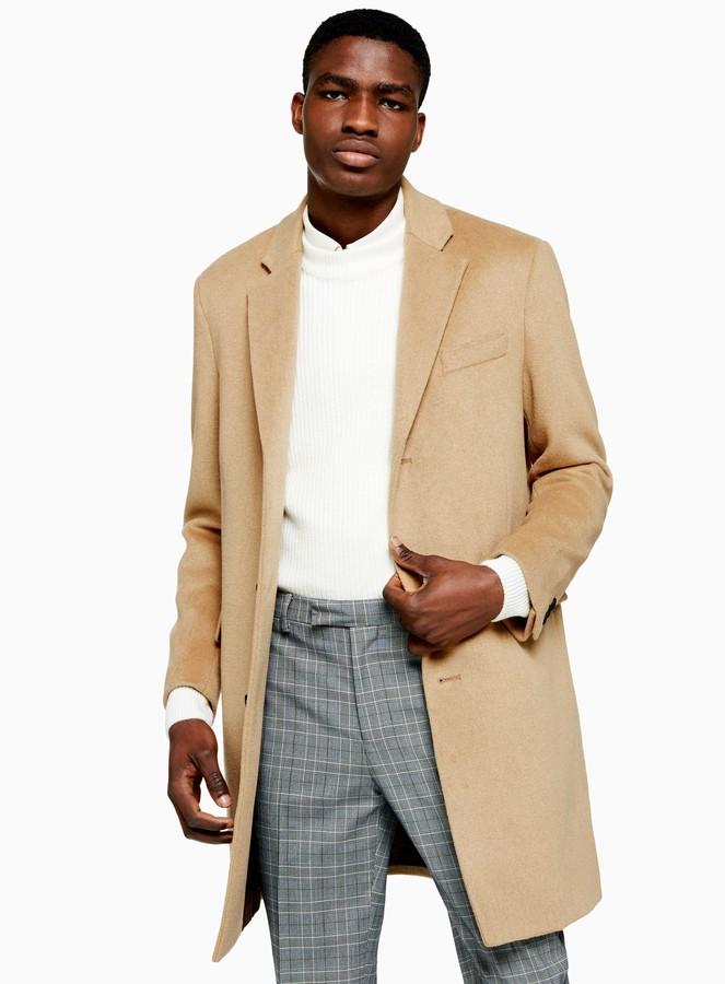 Topman Camel Overcoat With Wool