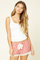 Forever 21 FOREVER 21+ Plaid Lace-Trim PJ Shorts