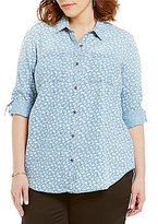 Intro Plus Y-Neck Roll-Tab Sleeve Button Front Printed Denim Top