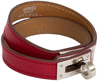 One Kings Lane Vintage Hermes Red Double-Wrap Kelly Bracelet - Vintage Lux - red/silver