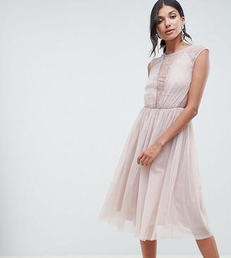 Asos Tall TALL Lace Insert T-shirt Midi Dress-Pink