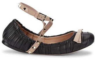 Valentino Rockstud Leather Crisscross Strap Ballet Flats