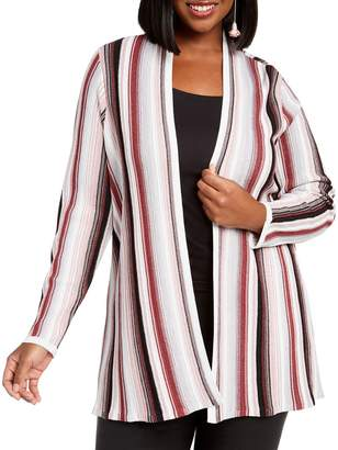 INC International Concepts Plus Striped Open-Front Cardigan