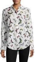 Equipment Butterfly-Print Silk Shirt