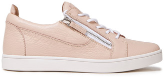 Giuseppe Zanotti Zip-detailed Pebbled-leather Sneakers