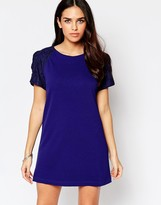 Liquorish Shift Dress with Lace Sleeve Detail