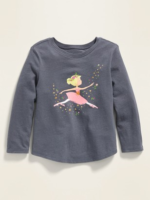 Old Navy Ballerina-Graphic Long-Sleeve Tee for Toddler Girls