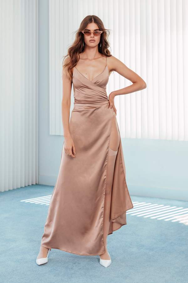 Nasty Gal Womens Right Bride Your Side Satin Maxi Dress - Beige - 6