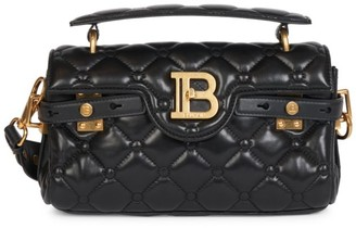 Balmain B-Buzz Quilted Leather Baguette Satchel