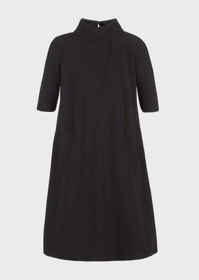 Emporio Armani Ottoman-Look Jersey, Mock-Neck Dress