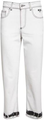 MSGM Tie Dye Cotton Denim Straight Jeans