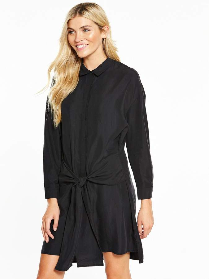 NATIVE YOUTH Tie Waist Shirt Dress