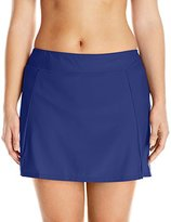 Maxine Of Hollywood Women's Plus-Size Solid Tricot Wide Waistband Skort Bikini Bottom