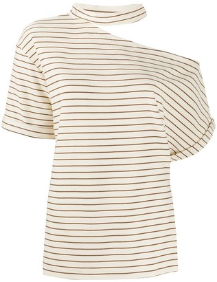 Erika Cavallini asymmetric striped T-shirt