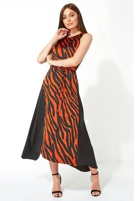M&Co Roman Originals animal contrast satin midi dress