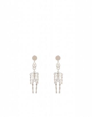 Moschino Skeleton Earrings Woman Silver Size U It - (one Size Us)