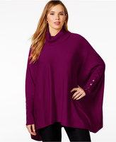 Alfani Plus Size Turtleneck Poncho Sweater, Only at Macy's