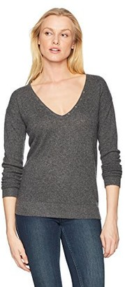 Minnie Rose Women's 100% Cashmere V-Henley Sweater