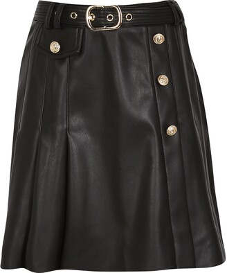 River Island Girls Black kilt pleat skirt
