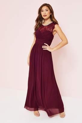 Lipsy Elsa Lace Sleeve Mesh Maxi Dress - 10 - Red