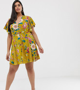 Asos DESIGN Curve mini dress with godet lace inserts in floral bird print