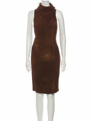 Ralph Lauren Purple Label Lamb Leather Knee-Length Dress Purple
