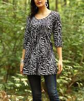 Reborn Collection Women's Tunics Black - Black & Charcoal Abstract Empire-Waist Tunic - Women & Plus