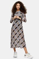 Topshop Womens Petite Blue And Stone Check Mesh Midi Dress - Multi