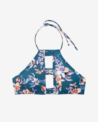 Express Floral Strappy Cut-Out Halter Neck Bikini Top