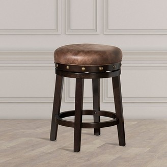 Hillsdale Furniture Benard Backless Counter Stool, Deep Smoke Brown WIth Brown Fabric