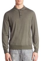 Brunello Cucinelli Slim-Fit Striped Long Sleeve Polo