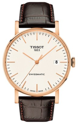 Tissot T1094073603100 Men's Everytime Automatic Date Leather Strap Watch, Dark Brown/Cream