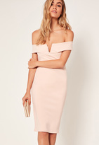 Missguided Petite Exclusive V Front Bardot Mini Dress Cream
