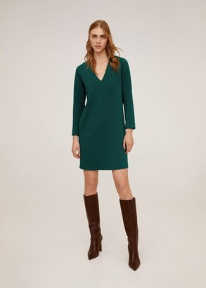 MANGO V-neckline dress dark green - 2 - Women